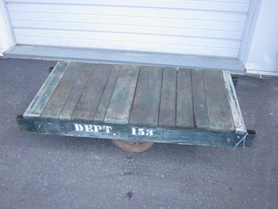 Antique Industrial Railroad Factory Cart By