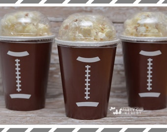 Set of 8, 10 or 12-Football Party Cups, Lids & Straws, Favor Cups, Popcorn Box