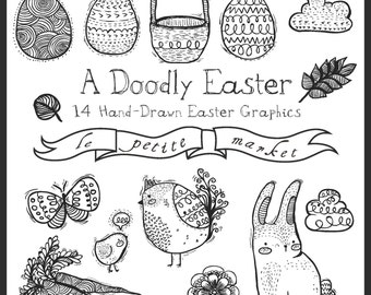 Doodly Hand Drawn Easter Clip Art, Hand Sketched Bunny Rabbit, Egg, Butterfly, Basket, Cloud, Instant Download, Illustration Easter Clipart