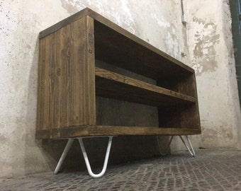 Rustic Reclaimed Wood TV Stand with Hairpin Legs