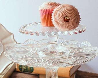 Glass cake stand Etsy