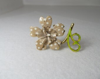 Vintage Jewelry Fashion Pin, Flower Power, 1980's Retro Brooch, Unique Clothing Accessory with Polka Dots