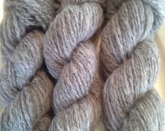 2 ply handspun natural light grey Jacob wool yarn