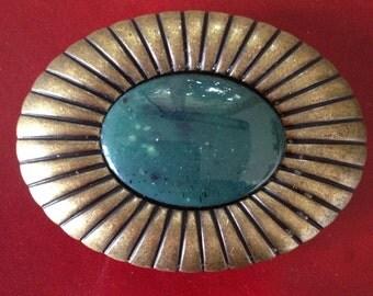 Fibbia per cintura//belt buckle//bronze belt buckle with green stone//italian belt buckle