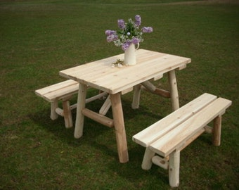 White Cedar Log Outdoor 4 Foot Picnic Table with Detached Benches - Amish Made USA - Model# WWR-WCLPT4DB - Free Shipping!