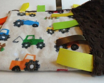 Tractor Tag Blanket  - Boy Security Blanket - Brown Sensory Blanket - Tractor Ribbon Blanket - Minky Lovey
