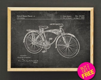 Schwinn Bike Patent Print, Schwinn Bicycle Blueprint Poster, Burlap Print, Home Decor, Office Decor, Wall Decor, Gift -Buy 2 Get FREE-301s2g