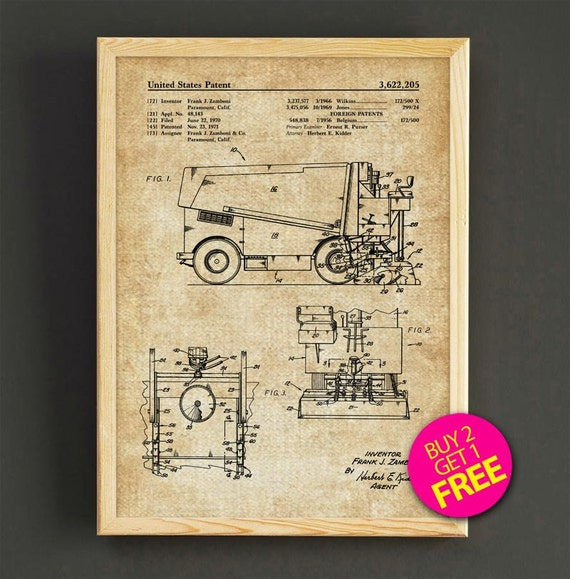 Zamboni ice resurfacing patent print hockey blueprint poster like this item malvernweather Choice Image
