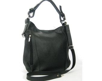 Black LEATHER HOBO BAG - Everyday Leather Shoulder Bag, Black Leather Purse, Leather Handbag, Black Leather Shoulder Bag, Black Tote Bag