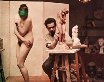 Leon Gimpel autochrome photo, sculptor and model, 1911