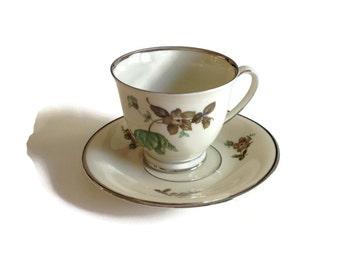 KPM Green Vallo Pattern Tea Cup