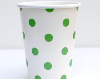 Green Polka Dot Cups Pack of 12