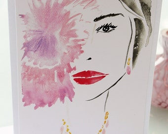 Beautiful Watercolor Art Print Fashion Illustration of Lady with Peonies