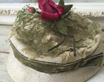 Hats-Victorian-Pink-Vintage Ladies Hat Darcel Exclusive With Pink Rose