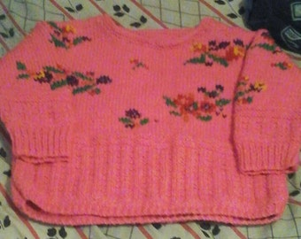 Pink cotton sweater flower for girl 6-8 years