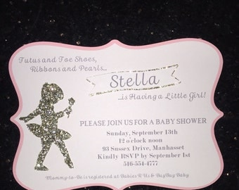 Ballerina Baby Shower Invite