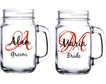 Personalized wedding mason jar - Customized with initial, name, and title - Bride, Groom, Bridesmaid, Groomsment, Best Man, Maid of Honor