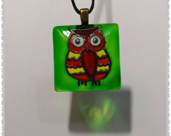 Hand painted Owl glass pendant necklace