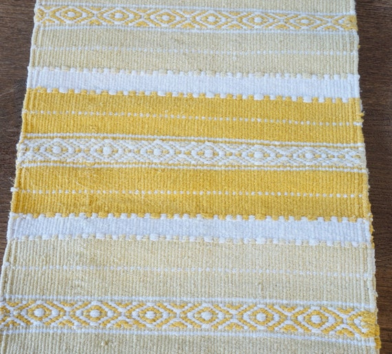 Woven Cotton Rag Rug Runner: Yellow Woven Rug Made Of Cotton Yarn Table By ScandicDiscovery