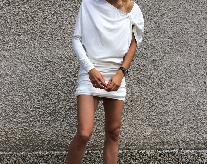 Extravagant Tunic White Little Dress, One Sleeve Maxi Dress, Party Dress, Asymmetric Cotton Dress By SSDfashion