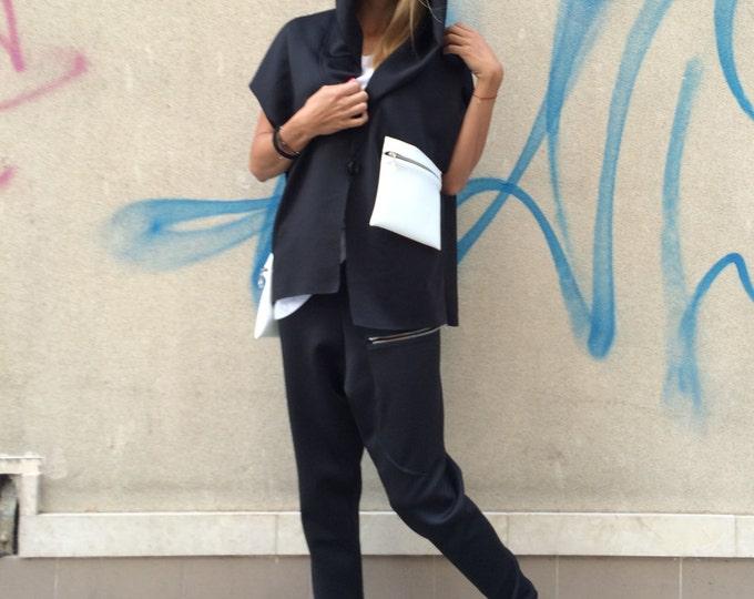 Black Women Elegant Set, Neoprene Drop Crotch Harem Pant, Loose Maxi Hooded Top by SSDfashion