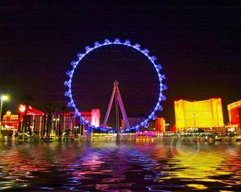 Digital Art: Wheel on Water, High Roller Ferris Wheel Ride, Las Vegas, Landscape, Wall Decor photo, Fine Art Photography Print [blk] [gld]