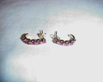 14K  Gold And Ruby Pierced Earrings