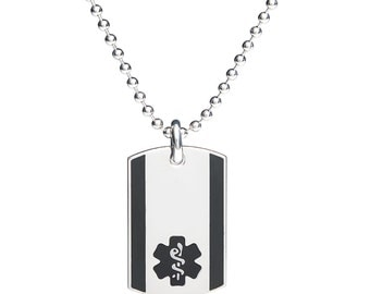 """316L Stainless Urban Medical ID Dog Tag -24"""" Ball Chain-Free Engraving, Wallet Card, Apps-Black-8921BL"""
