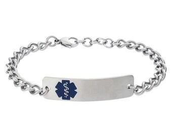 Classic Rectangle Embossed Medical Alert ID Tag Chain Bracelet- Custom Engraving