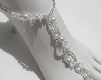 Swarovski Barefoot wedding crystals and pearl beads, Barefoot Sandals,Wedding shoes Soleless Sandals Reception shoes
