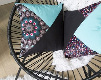 Patchwork cushion square 40 x 40 cm pattern Kazaguruma manufactured in France and hand