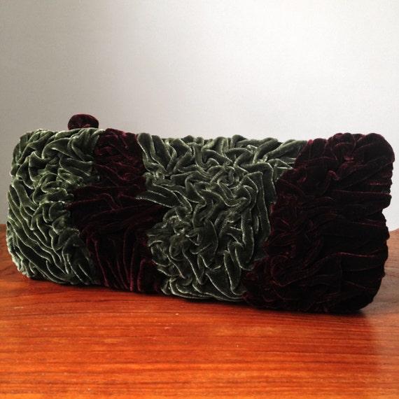 Ruched Silk Velvet Clutch