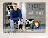 2018 Graduation - Brett Graduation Announcement - Gray, Blue, Black, Grunge, Boy, Senior, Class of 2017