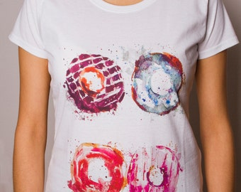 Woman T-Shirt with printed Watercolor Donuts