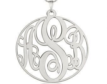 Sterling Silver Circle Monogram Necklace - free shipping!!