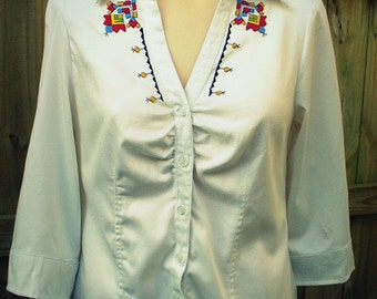 Traditional Hungarian hand embroidery - Sárköz - Women Top, hand stitched