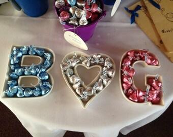 3 Ceramic Letter Dishes