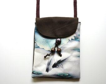 PureCotton Canvas Crossbody Bag-saddlebrown,kai fish,Phone Bag,sling bag