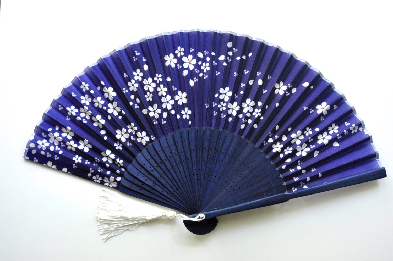 Portable Hand Fan : Silk midnight sakura hand fan with sleeve handheld folding