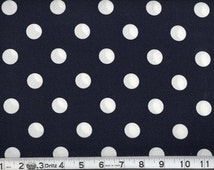Navy Polka dot Fabric, Navy and white polka dot fabric, by the yard, 100% cotton, sold by the fat quarter or yard, apparel fabric, bolt