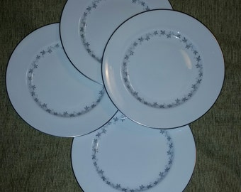 Royal Doulton Fine English Bone China Cadence Pattern TC 1007 Set of 4 Salad Luncheon Plates with Platinum Trim Made in England