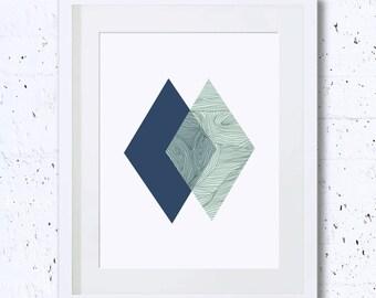 Green,Navy Diamond,Geometry Print,Diamond Silhouette,Abstract, Geometry, Art Print, Printable Art, Downloadable,Wall Deco,Minimal Art