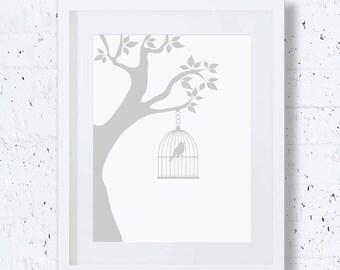 Bird Cage,Tree Print,Silver,Bird Silhouette,Bird Art Print,Nursery Animal Print,Printable Art,Downloadable Print,Wall Print,Minimal Art,Grey