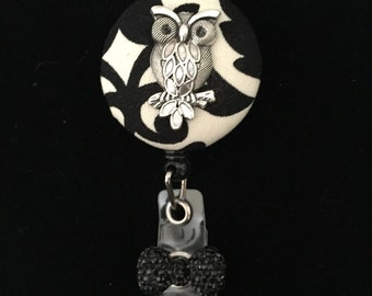 Silver Damask Owl -Nurse Retractable ID Badge Reel/ RN Badge Holder/Doctor Badge Reel/Nurse Badge Holder/Student Nurse badge reel/ nursing g