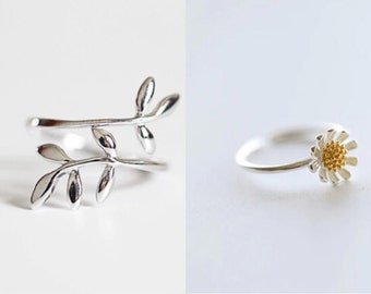 925 Sterling Silver Rings Tree Leaves or Daisy Ring, Toe Ring