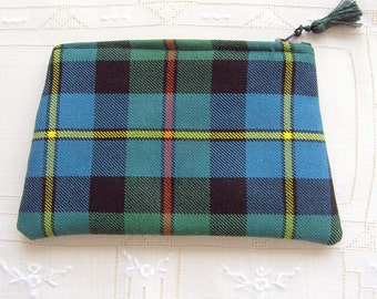 Pure wool tartan,zip top pouch /bag tidy/purse