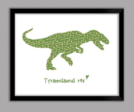 T rex dinosaur kids art 8x10 11x14 framed unframed for T rex bedroom decor