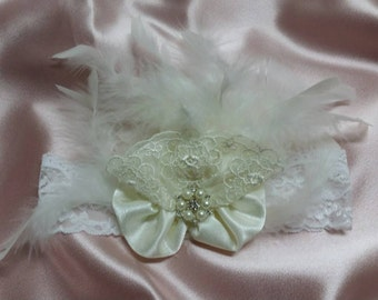 Vintage inspired feathered headband
