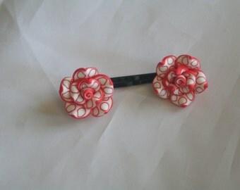 red & white flower bobby pins-flower bobby pins-bobby pins