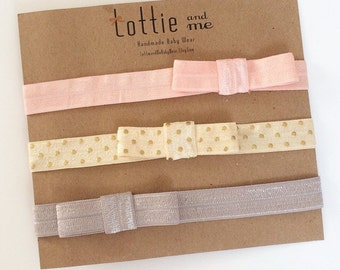 Baby Headbands Set of 3 Elastic Bows Simple and Light Pink / Blush, Ivory Gold Dot, Grey